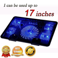 "Professional external Laptop Cooler Pad 14"" 15.6"" 17"" with 5 fans 2 USB Port slide-proof stand Notebook Cooling Fan with light"