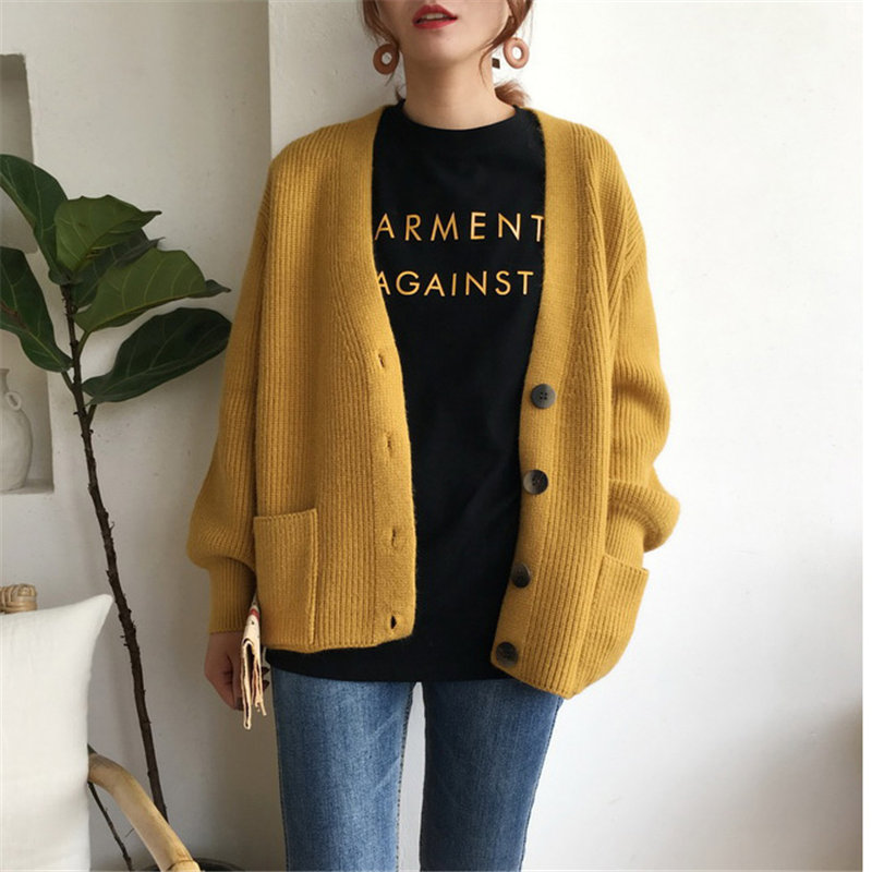 Alien Kitty Chic Korea Thick Loose All Match Casual Gentle Spring Autumn Elegant Regular Cardigans Full-Sleeved Solid Sweaters