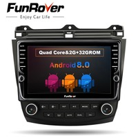 FUNROVER 9 android8.0 car dvd gps multimedia stereo player for Honda Accord 7 2003 2007 auto radio video navigation rds BT wifi