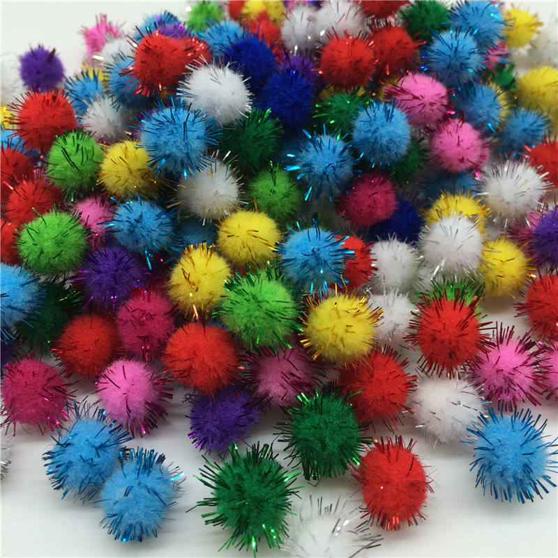 200pcs approx 10mm Chenille Stems Bendaroos Christmas Plush Ball Hair Root Diy Children Toys Wholesale Pompom Wedding Decoration