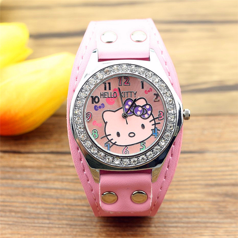 Sell Like Hot Cakes With Nail Quartz Watch Cartoon Hello Kitty Kitty Belt With Girl Diamond Wrist Watch