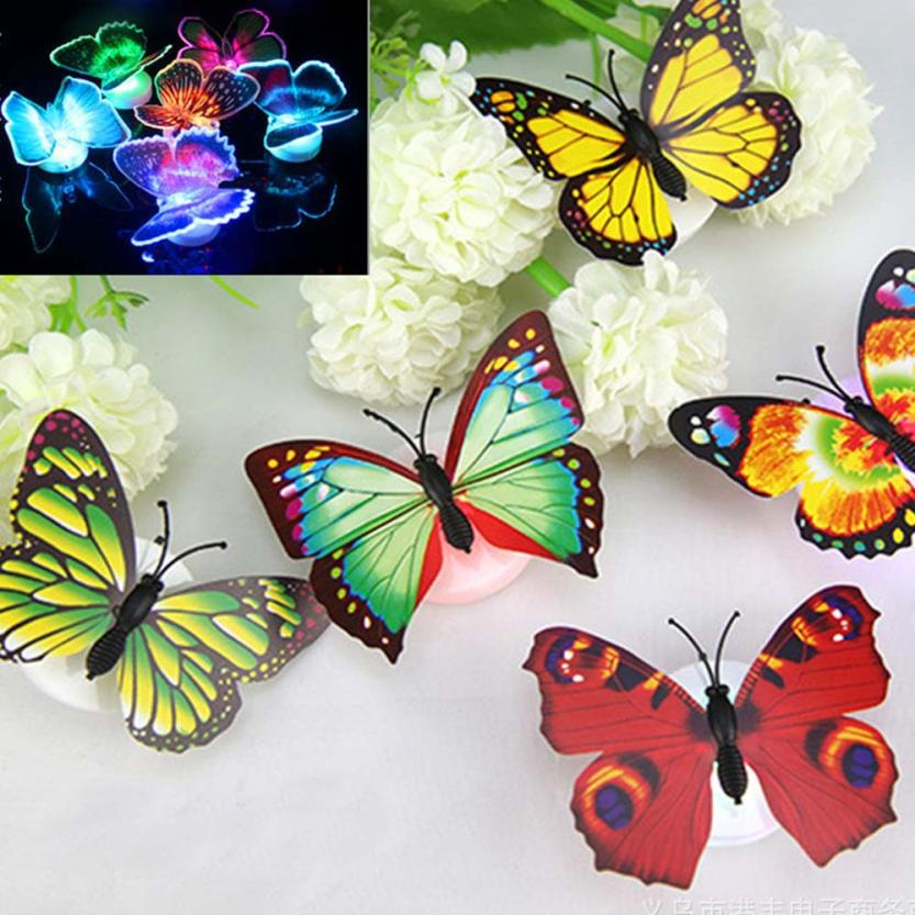 Butterfly Wall Sticker Can Paste LED Creative Colorful Small Fancy Lantern Butterfly Bedroom Home Decor Levert Dropship 3MAR28