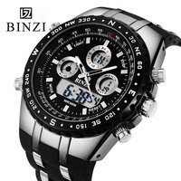 BINZI Brand Men S Shock Digital Sport Watch Metal Dial Silicone Watchband Dual Display Analog LED