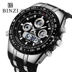 Binzi Для мужчин S Часы Топ бренд класса люкс цифровые мужской спортивные часы Водонепроницаемый Для мужчин двойной дисплей наручные Часы час...