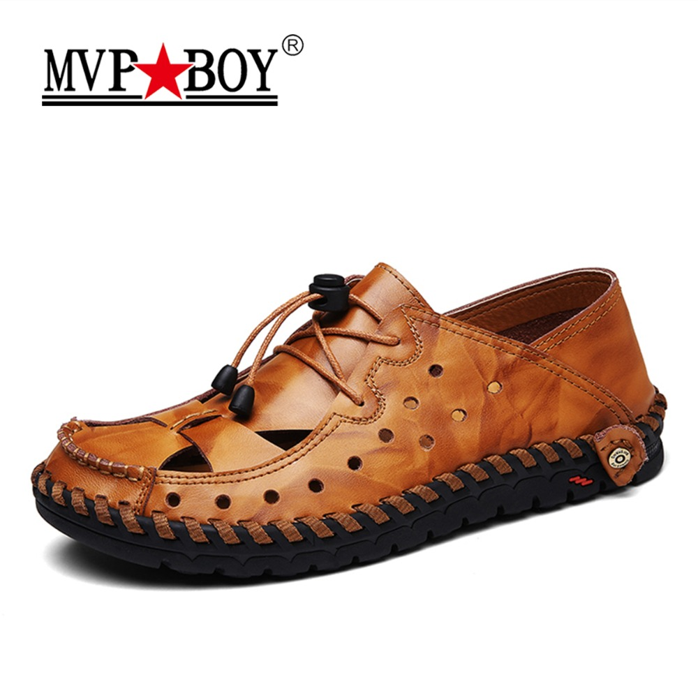 MVP BOY Genuine Leather Men Sandals Summer Cow Leather New for Beach Male Shoes Mens Gladiator Sandal Leather Sandals 38-44