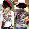 Wholesale 5pcs/lot Grey /Khaki colour Fashion kids child Cotton T-shirt Causal FREE SHIPPING