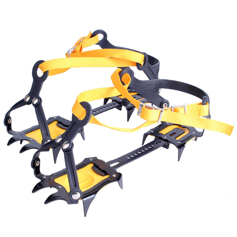 10-Point Crampons Manganese Steel Climbing Gear Anti-Skid Snow Ice Climbing Shoe Grippers Crampon Traction Device Mountaineeri