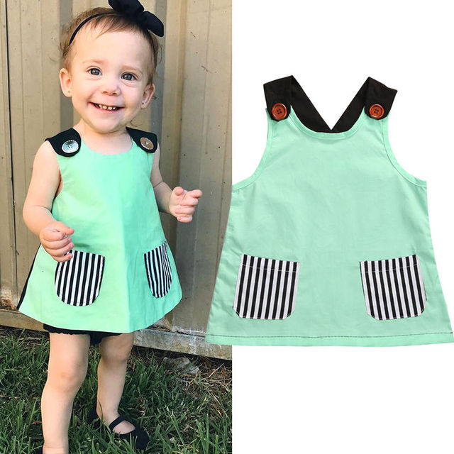b242deae74c 2017 Summer Cute Toddler Kids Baby Girl Clothes T-shirt Top Vogue  Sleeveless Pocket Long Baby Girls Tops Shirt Free Shipping