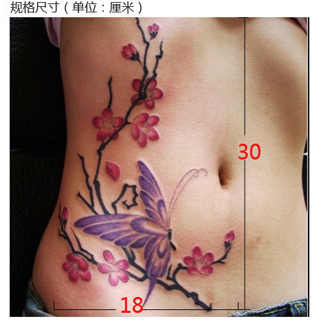 2pcs 3d colorful Butterfly plum flower big large Temporary tattoo stickers warterproof for women back body free shipping 3