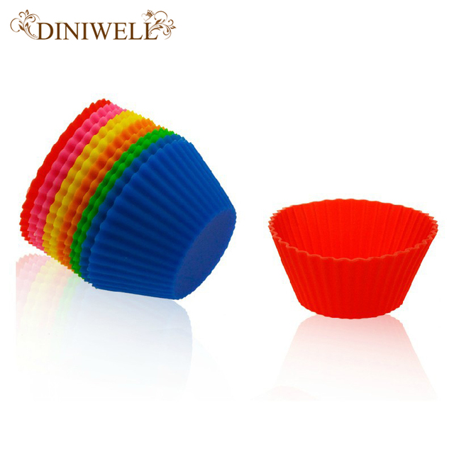 DINIWELL Kitchen Accessories Silicone Round Cake Muffin Chocolate Cupcake Mold Liner Baking Cup Box Soap Mould New