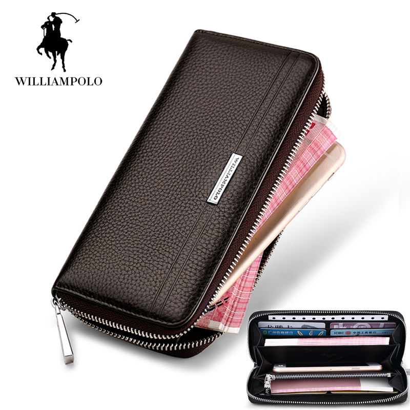 Waterproof Black Soft Leather Men Wallet New Genuine Leather Wallet Zipper Coin Purse Card Holder Men Long Phone Clutch Wallet newborn infant baby boy girl cotton romper jumpsuit boys girl angel wings long sleeve rompers white gray autumn clothes outfit