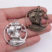 WYSIWYG 4 pièces 43x39mm pendentif Pirate voilier Pirate voilier breloque pendentifs Antique argent couleur voilier pendentifs