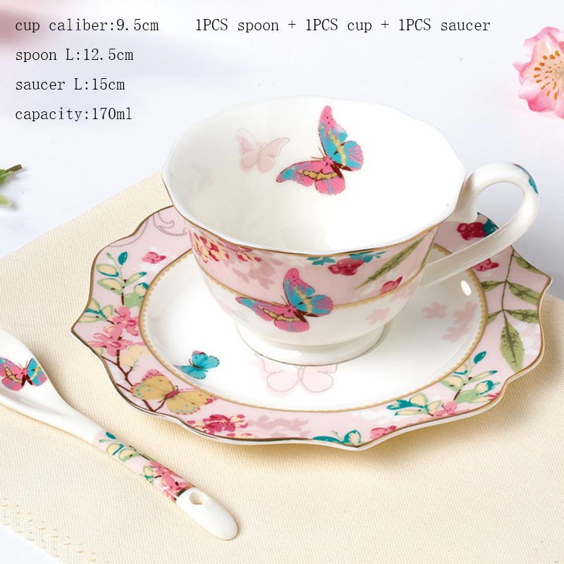 Joyous Style Butterfly Floral Pattern Ceramic Gold Plated Coffee Mug Spoon  Saucer Double Layer Fruit Tray Milk Pot Sugar Cans In Mugs From Home U0026  Garden On ...