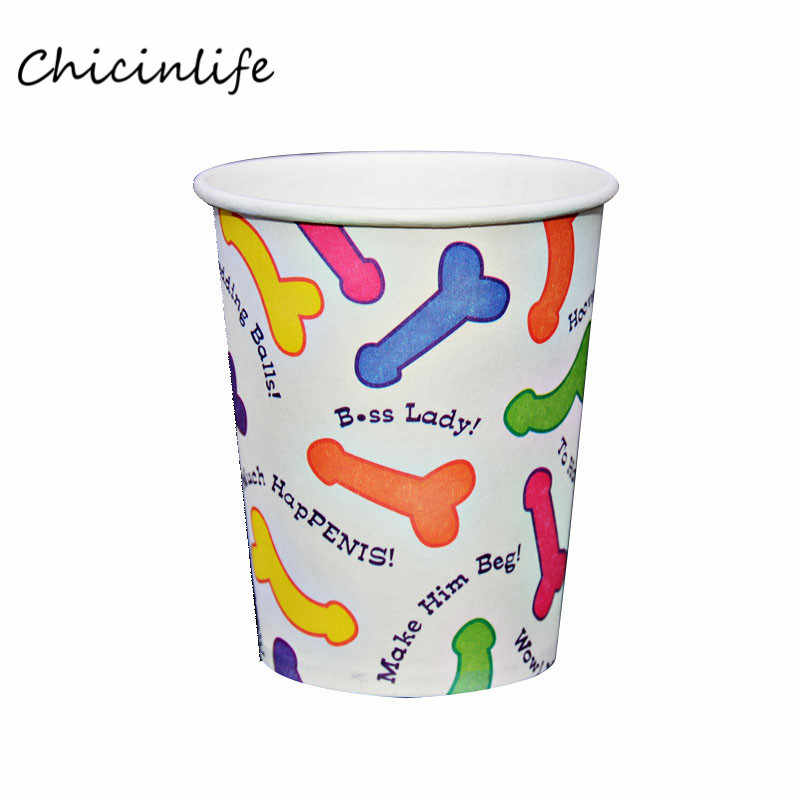 Chicinlife 6pcs/lot Willy Penis Paper Cup Bachelorette Hen Night Party Supplies Drink Cup