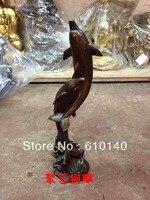 Rzeźba z brązu  miedź dekoracji Duże delfiny delfin rzemiosło prezent Brązu posąg miedzi w Posągi i rzeźby od Dom i ogród na