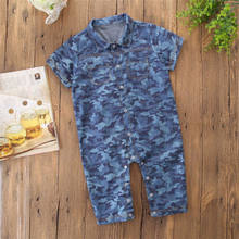 67190e5c6b99 New Style Toddler Camo Denim Romper Baby Boy Girl Outfit Camouflage Denim  Jumpers Short Sleeve Infant Romper Children Clothes