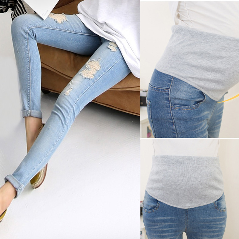 Fashion Maternity Holes Elastic Jeans Pants Pregnancy Denim Clothes Pregnant Women Belly High Waist Trousers ZJF