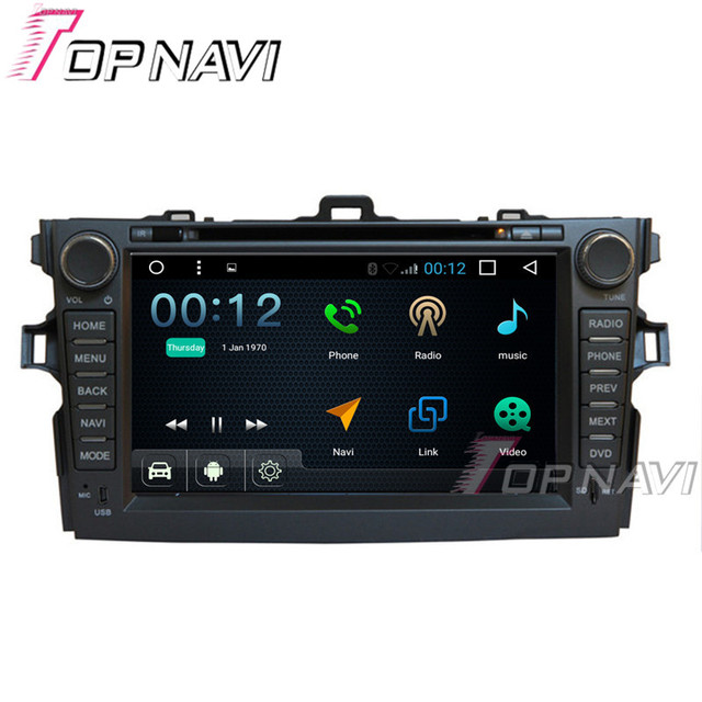 "Topnavi 8"" 1024*600 Quad Core 16G Android 6.0 Car DVD Multimedia Player for Toyota Corolla 2007-2011 GPS Navigation Radio"