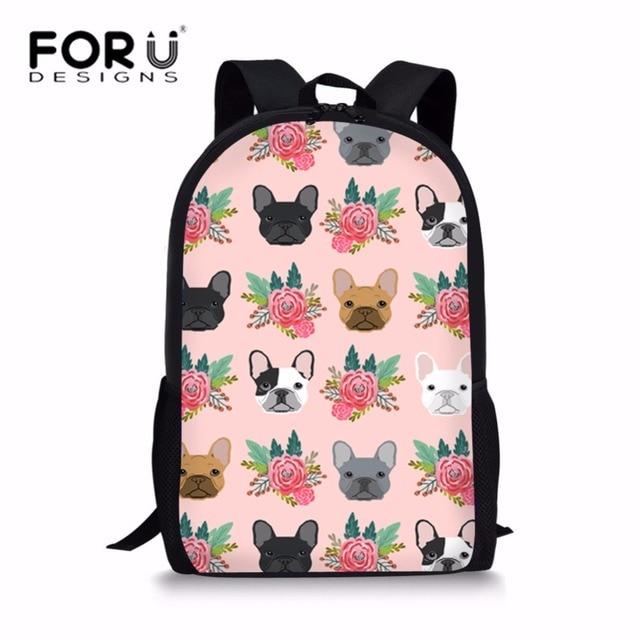 FORUDESIGNS School Bags for Girls French Bulldog Printing School Backpack  Kids Cute Puppy Bookbag Students Shoulder Bag Satchel