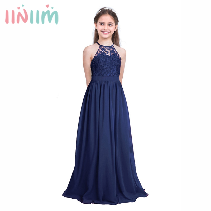 Blue Cute Children Lace Flower Princess Girl Dress for Wedding Birthday Party High-end Girl Kids Evening Prom Dresses for Girls