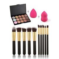 Professional Makeup Brush Set 12pcs High Quality Makeup Tools Kit 15 Colors Contour Concealer Palette 2