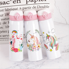 500ML Thermocup Bouncing Cover Bottle Vacuum Flask Flamingo Unicorn Pattern Thermal Mug Travel Thermos Cup Stainless Steel.Q