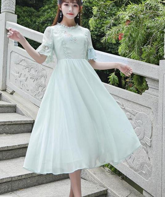 a71acd8803082 US $23.65 9% OFF| Free Shipping Summer Retro Style Sweet Lace Decorated  Collect Waist Flare Sleeve Chiffon Long Dress Light Green-in Dresses from  ...