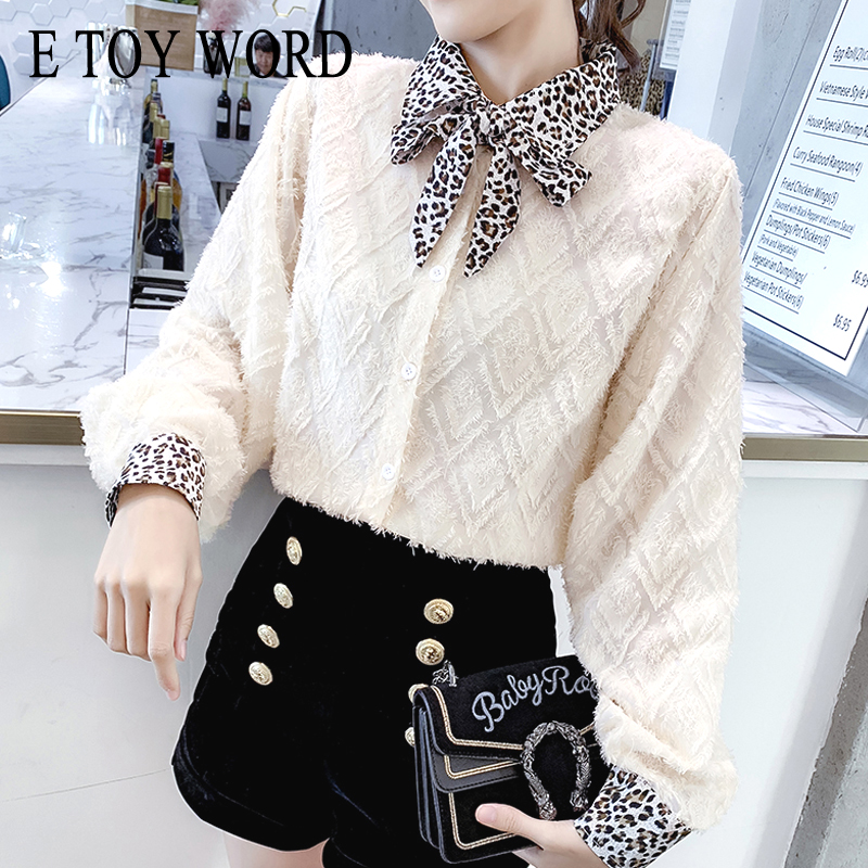 E Toy Word Fringed Shirt Temperament Leopard Collar Top Bow Tie Hairy Shirt Women 2019 Spring New Korean Version Women's Clothing