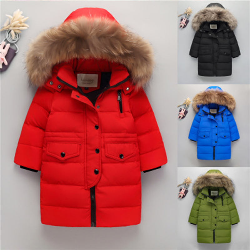 Brand Fashion Children Down Parkas New Outerwear Thick Warm Children's Down Jacket Boy Girl Long Sleeve Hoode  -30degree 2017 winter women jacket new fashion thick warm medium long down cotton coat long sleeve slim big yards female parkas ladies269