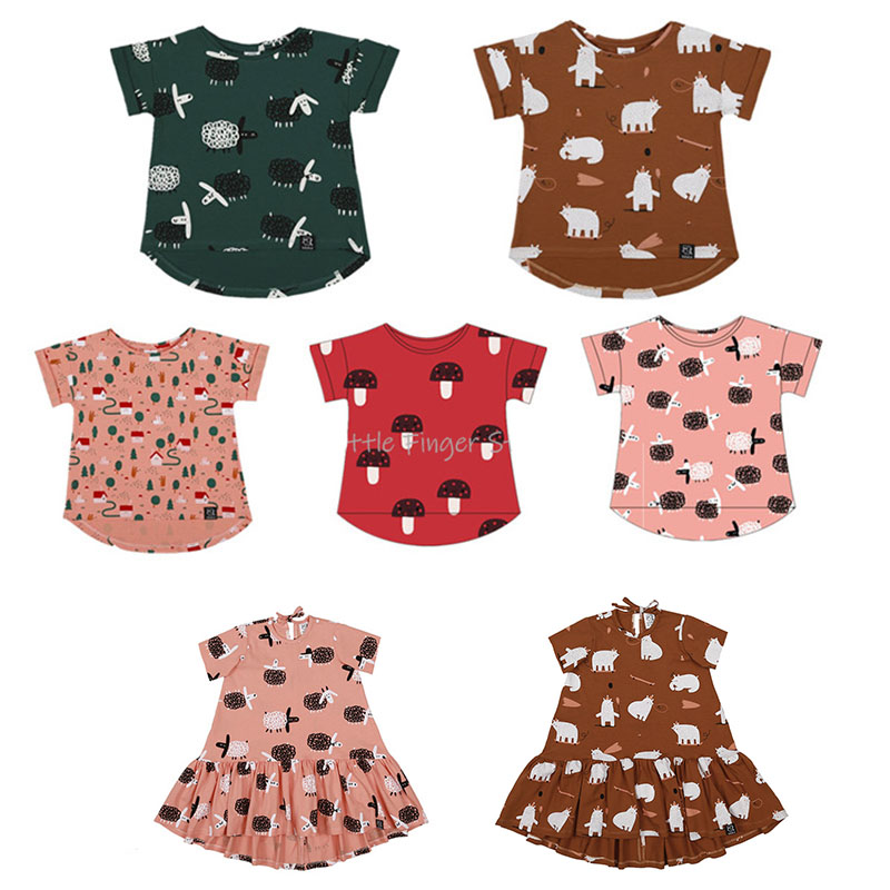 Enkelibb T-Shirt Matching Toddler Baby Tops Short-Sleeve Print Girls Boys Cartoon Summer