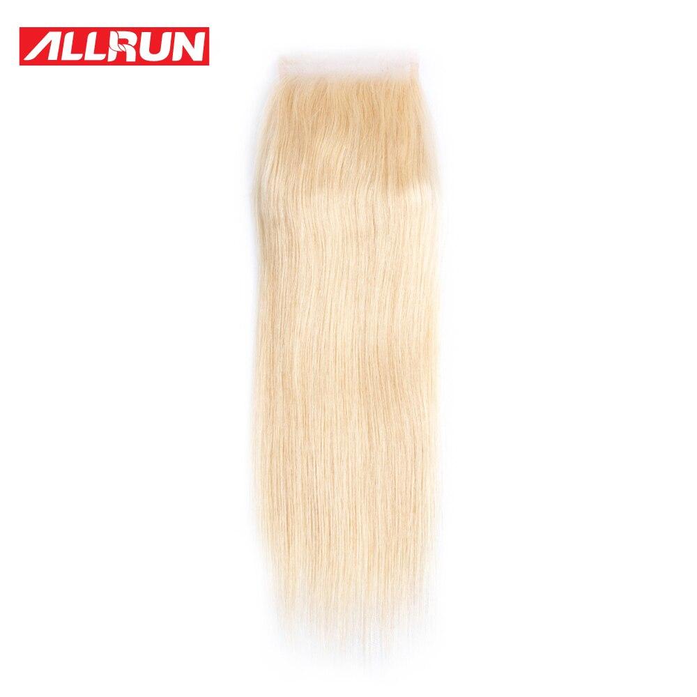 Allrun 613 блондинка Синтетическое закрытие шнурка волос 4x4 бразильский Прямо non-реми Человеческие волосы бесплатная часть с ребенком волос отб...