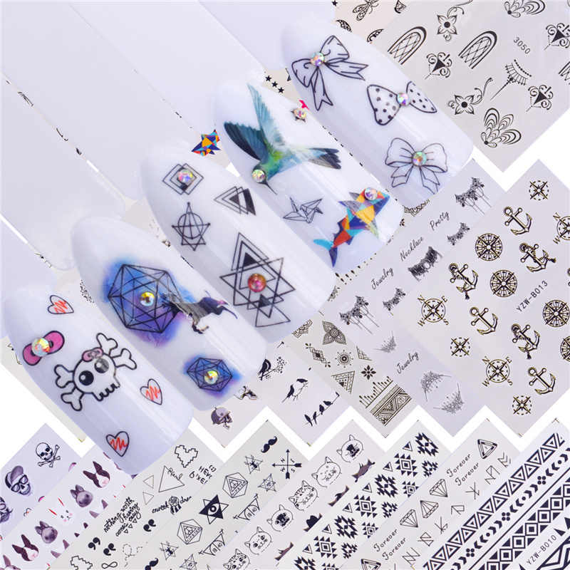 YWK 22 Designs Available Geometric Triangle Heart Firework Wave Manicure Water Transfer Decal Slider Manicure Wraps Tool Tips