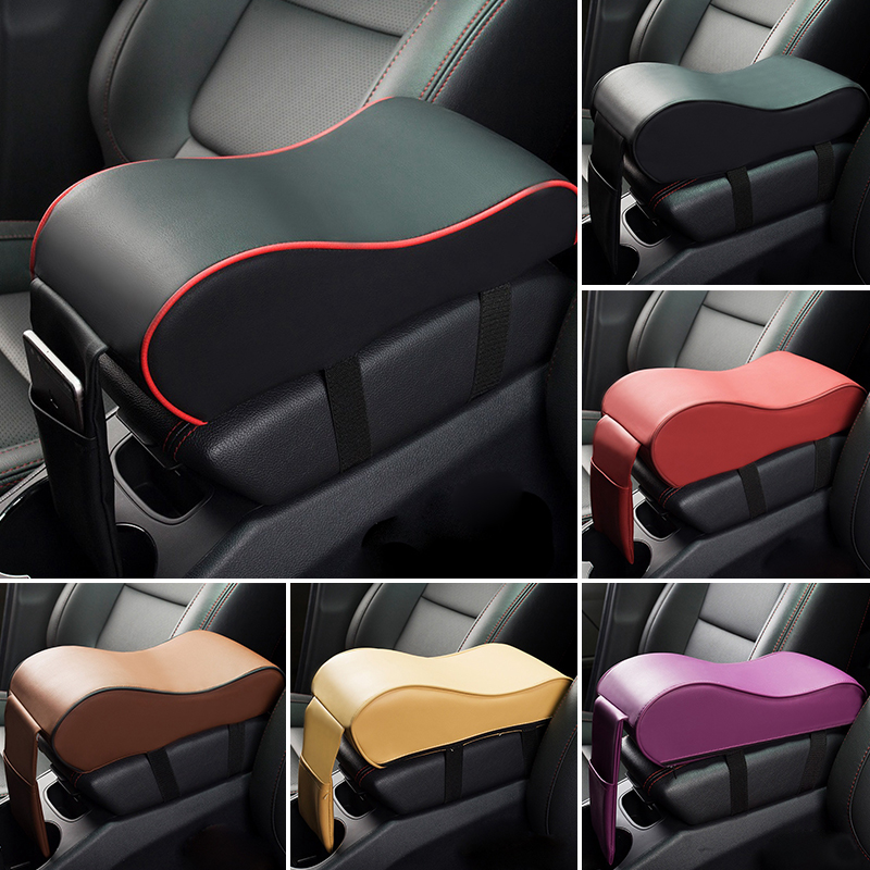 2018 Nova Almofada de Apoio de Braço de Couro Do Carro Universal Auto Braços Carro Consola central Caixa de Assento de Veículo Almofada Protetora Carro Descanso de Braço Styling