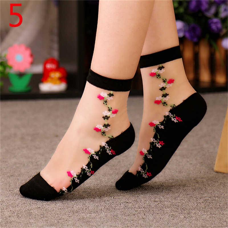 1 пара красивых женских кружевных носков, прозрачные шелковые короткие тонкие прозрачные цветочные носки с розами