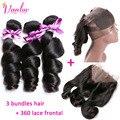Peruvian Loose Wave Virgin Hair With Frontal Closure 3 Bundles 360 Lace Frontal With Bundle Loose Wave With Closure Natural Hair