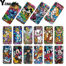 Yinuoda For iphone 7 6 X fairy tale stained Alice Stitch Mickey Mouse Marie Cat Princess Phone case for iPhone 8 6S Plus 5S SE
