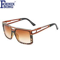 FOENIXSONG Fashion Women Flag Top Sunglasses Unisex Hollow Out Frame Sun Glasses Men Gradient Gafas UV400