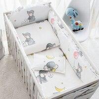 6 Pcs Baby Bedding Sets Cotton Cartoon Animated Crib Bed Bumper Comfortable Baby Bumper Newborns Bed Protector Baby Bed Set