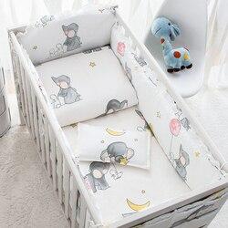 6 Pcs Baby Bettwäsche Sets Baumwolle Cartoon Animierte Krippe Bett Stoßstange Komfortable Baby Stoßfänger Neugeborene Bett Schutz Baby Bett Set