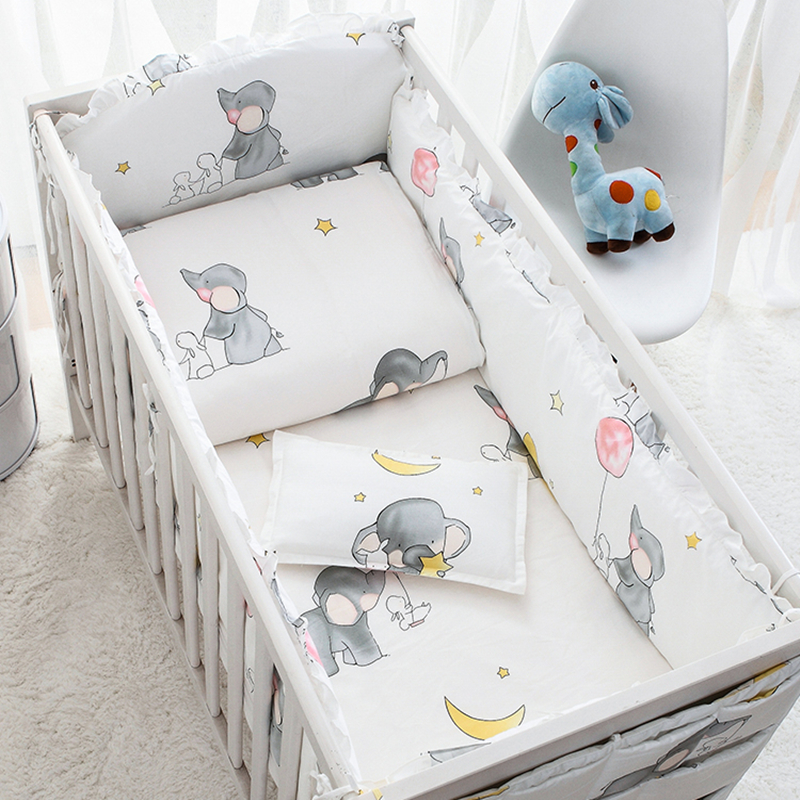 6 Pcs Baby Bedding Sets Cotton Cartoon Animated Crib Bed Bumper Comfortable Baby Bumper Newborns Bed Protector Baby Bed Set