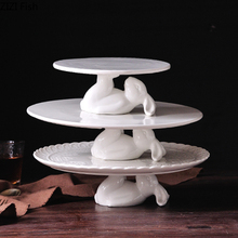 Кролика Форма керамики торт лоток десерт на вечеринку, свадьбу Дисплей стенд инструменты для украшения тортов из мастики украшения дома инструменты
