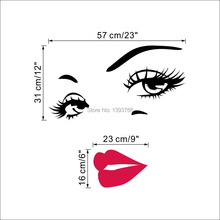 DIY Beautiful Face Eyes And Lips Wall Art Sticker 8469 Painting Room Home Decoration Finished Size 70*57CM