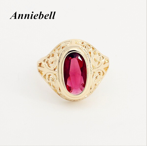 2020 Trendy Ring 585 Rose Gold Color Jewelry Women Men Rings Oval Red Stone Cubic Zircon Jewelry New Fashion Wedding Rings(China)