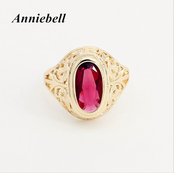 2020 Trendy Ring 585 Rose Gold Color Jewelry Women Men Rings Oval Red Stone Cubic Zircon Jewelry New Fashion Wedding Rings