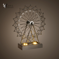 American simplified Ferris wheel desk lamp iron bar bar bedroom study coffee shop restaurant decorative table lamp