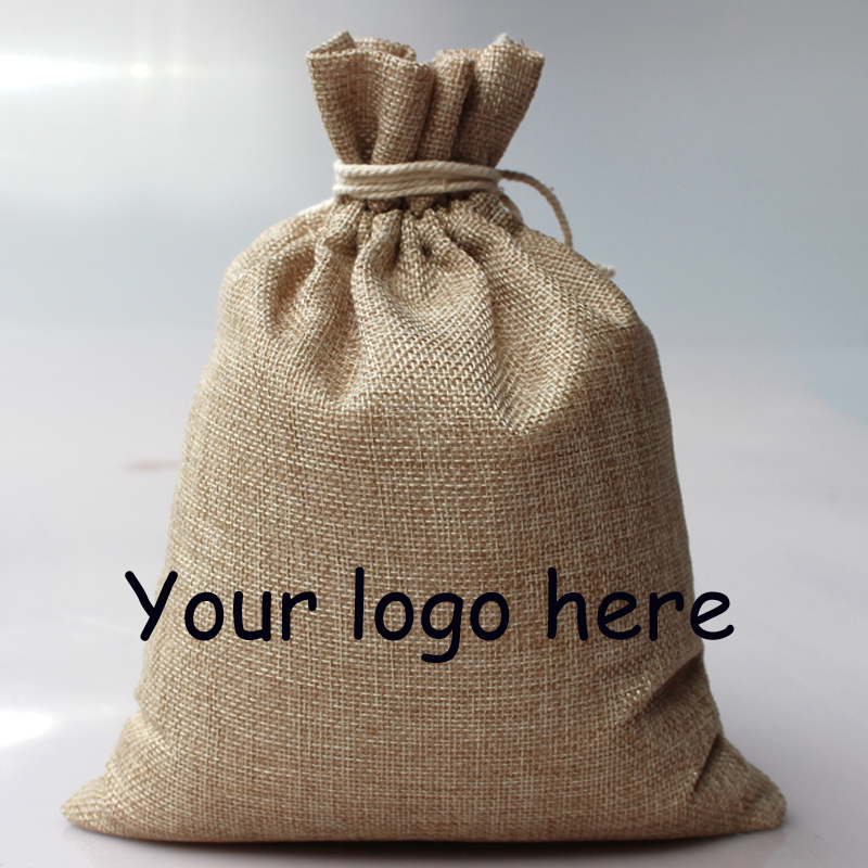 Whole 300pcs 12x17cm Custom Gift Bags Promotional Gifts Customized Logo Jute Drawstring In Wring Supplies From Home Garden On