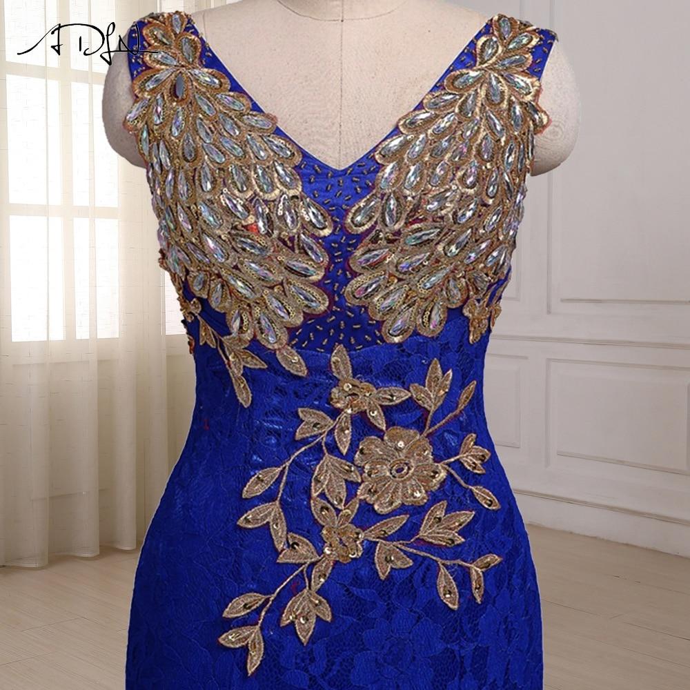ADLN Royal Blue Mermaid Aftonklänning Cap Sleeve Golvlängd Custom - Särskilda tillfällen klänningar - Foto 6