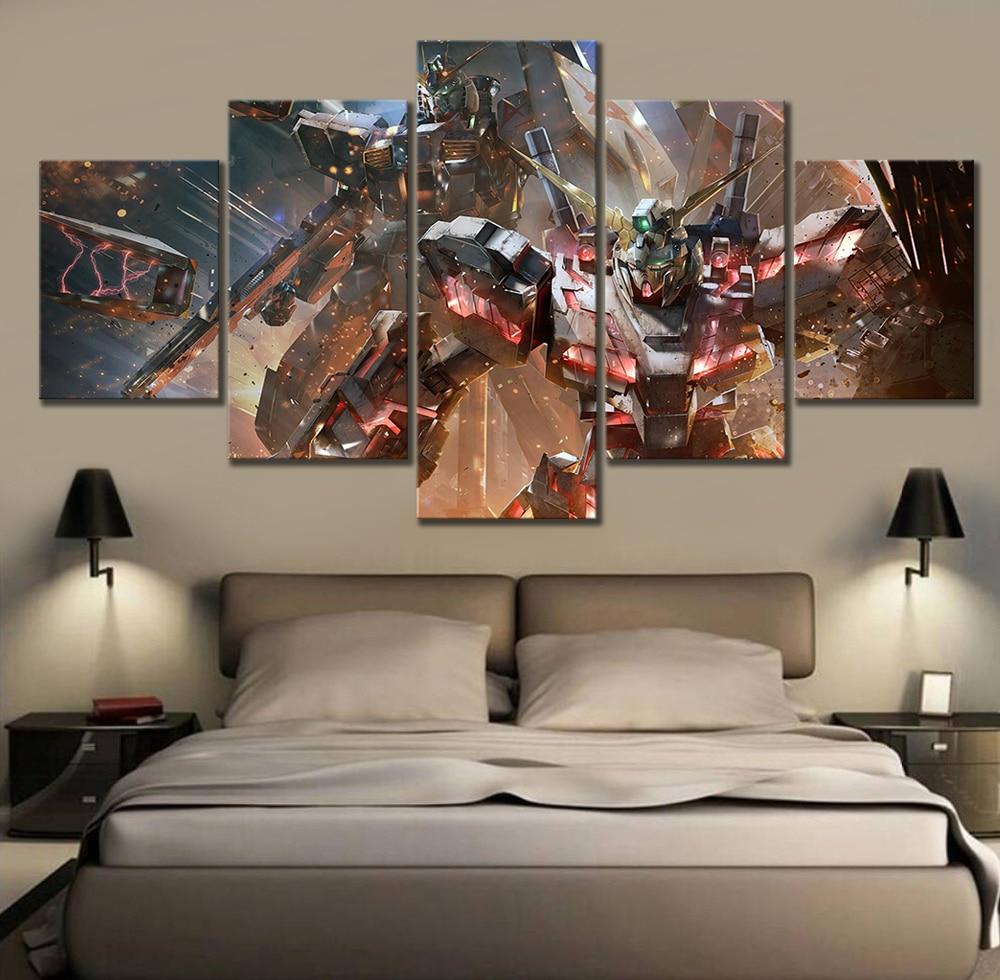 5 Piece Science Fiction Cartoon Movie GUNDAM Poster Animation Art Canvas Paintings for Home Decor Wall Art 2