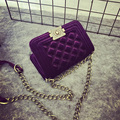 Dress Style Diamond Lattice Chain Bag Korean Winter Velvet Messenger Small Bags Fashion Ladies Shoulder Tote Purple Day Clutches