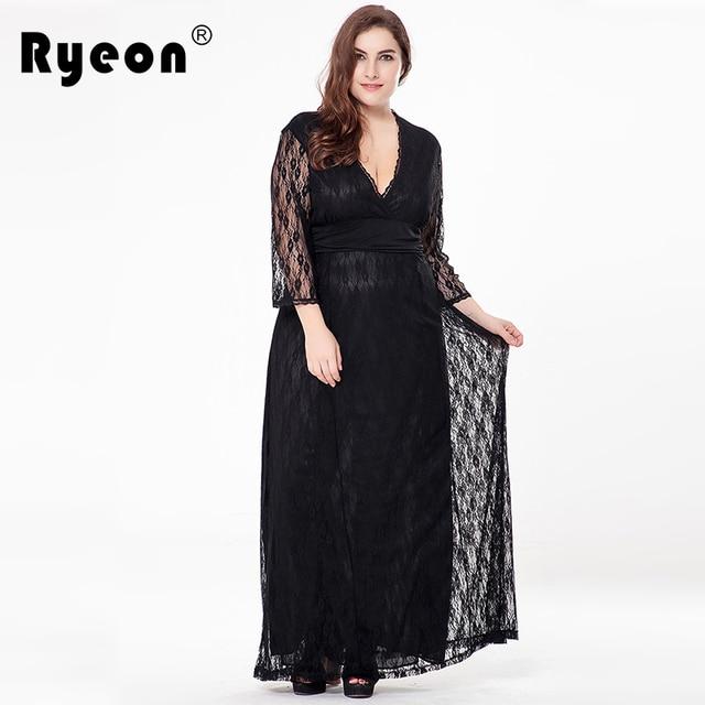 Ryeon 2017 Maxi Lace Dress Party Tunic Women Dresses Plus Size V Neck Black  Ivory Floor Length Vintage Sexy Long Dress Big Sizes ebafa1c6100a